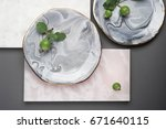 perfect ceramic plate with... | Shutterstock . vector #671640115