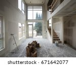 room interior with drywall... | Shutterstock . vector #671642077
