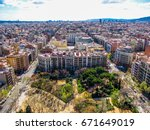 aerial view of barcelona  spain ... | Shutterstock . vector #671649019