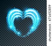 shiny heart shaped frame on... | Shutterstock .eps vector #671652859