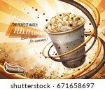 caramel mocha cocoa smoothie... | Shutterstock .eps vector #671658697