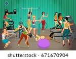women in sportswear are engaged ... | Shutterstock . vector #671670904