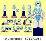 complete muslim prayer for woman | Shutterstock .eps vector #671671069