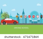 driving school with car and... | Shutterstock .eps vector #671671864