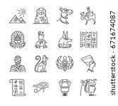egypt line icon set. included... | Shutterstock .eps vector #671674087