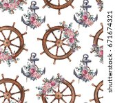 seamless watercolor nautical... | Shutterstock . vector #671674321