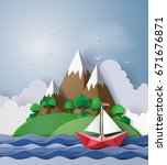 paper sailing boat float on ... | Shutterstock .eps vector #671676871