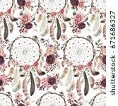 seamless watercolor ethnic boho ...   Shutterstock . vector #671686327