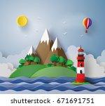 illustration of lighthouse... | Shutterstock .eps vector #671691751