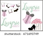 lingerie party invitation cards ... | Shutterstock .eps vector #671693749