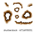 burnt paper hole. scorched...   Shutterstock .eps vector #671695051
