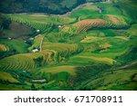 amazing rice fields on terraced ... | Shutterstock . vector #671708911