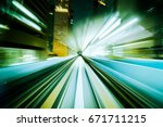 motion blur train moving in... | Shutterstock . vector #671711215
