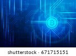 abstract circuit board bitcoin... | Shutterstock .eps vector #671715151