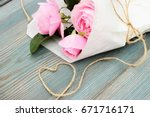 pretty card with pure pink rose ... | Shutterstock . vector #671716171