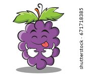 tongue out grape character... | Shutterstock .eps vector #671718385