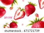 fresh strawberries falling down ... | Shutterstock .eps vector #671721739