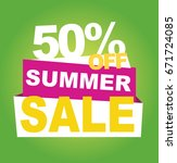 summer sale banner. vector... | Shutterstock .eps vector #671724085