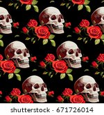 seamless halloween pattern with ... | Shutterstock .eps vector #671726014