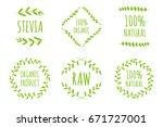 vector stevia  100  natural ... | Shutterstock .eps vector #671727001