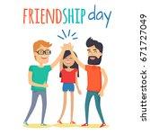 celebrating friendship day... | Shutterstock .eps vector #671727049
