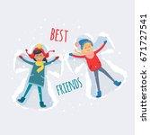 best friends  brunette and...   Shutterstock .eps vector #671727541