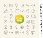 different trendy outline icons... | Shutterstock .eps vector #671729125