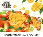 fresh mango ice pop ads  with... | Shutterstock .eps vector #671729239