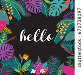 tropical summer flower with... | Shutterstock .eps vector #671738197