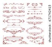 set of vintage decorations... | Shutterstock .eps vector #671742415