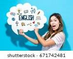 Small photo of English text with young woman holding a speech bubble on a blue background