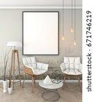 mock up poster frame in loft... | Shutterstock . vector #671746219