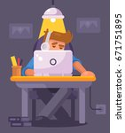 young man working on computer... | Shutterstock .eps vector #671751895