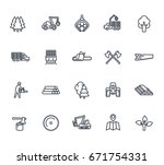 timber industry icons on white | Shutterstock .eps vector #671754331