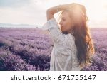 beautiful model walking in... | Shutterstock . vector #671755147