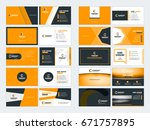 collection of double sided... | Shutterstock .eps vector #671757895