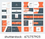 collection of double sided... | Shutterstock .eps vector #671757925