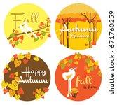 set of autumn icon design... | Shutterstock .eps vector #671760259