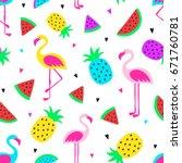 pineapple  flamingos ... | Shutterstock .eps vector #671760781