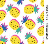 vector seamless pineapple fruit ... | Shutterstock .eps vector #671761051