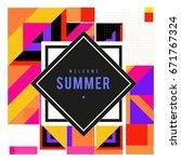 trendy vector summer cards... | Shutterstock .eps vector #671767324