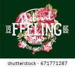 natural feeling fashion roses ... | Shutterstock .eps vector #671771287