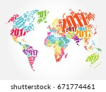 2017 happy new year  world map... | Shutterstock . vector #671774461