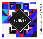 trendy vector summer cards... | Shutterstock .eps vector #671774974