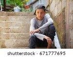 sad teen outdoors. unhappy... | Shutterstock . vector #671777695