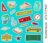 back to school stickers  badges ... | Shutterstock .eps vector #671777965