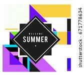 trendy vector summer cards... | Shutterstock .eps vector #671778634