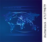 network world map with vector... | Shutterstock .eps vector #671779879