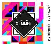 trendy vector summer cards... | Shutterstock .eps vector #671781067