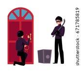 thief  burglar breaking in... | Shutterstock .eps vector #671785819
